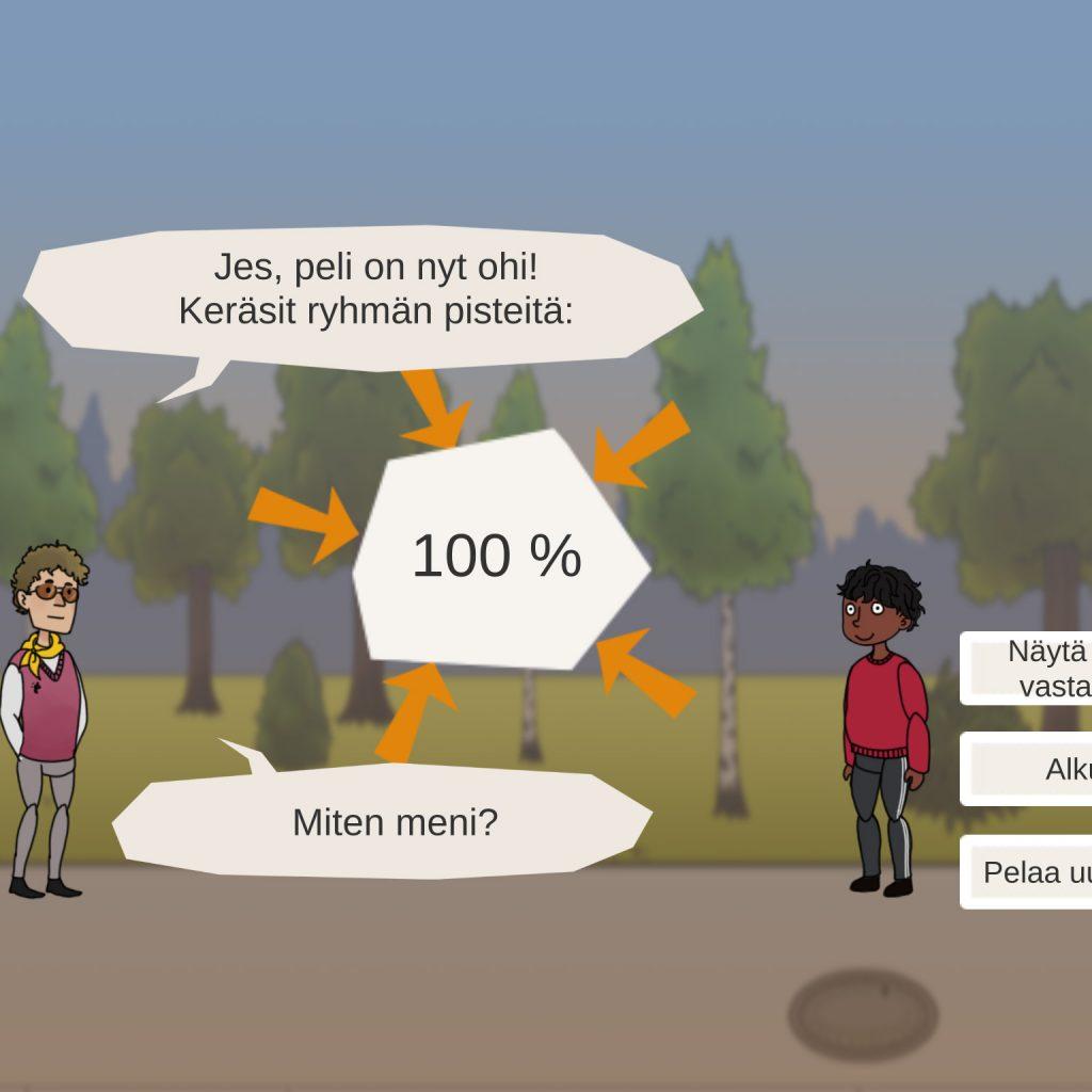 Pelin lopputuloksena ilmoitetaan, kuinka monta prosenttia pelaaja sai ryhmän vastauksista oikein.